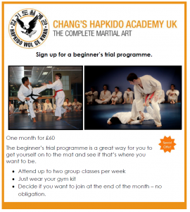 Beginner's martial arts trial programme at our London Hapkido school