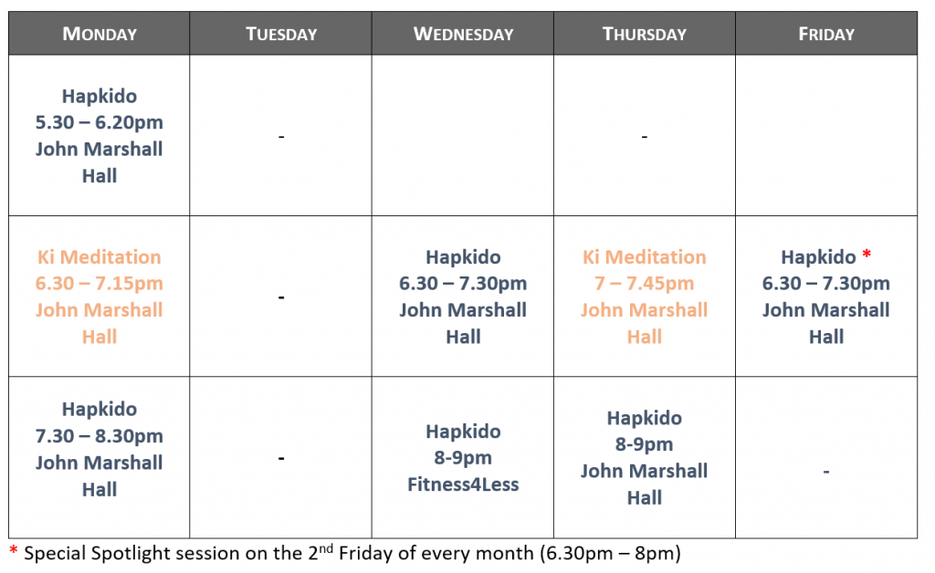 Martial art London timetable