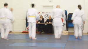 Master Parlour and Grandmaster Chang conducting a Hapkido grading in London.
