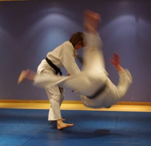 Master Parlour throwing a Hapkido student